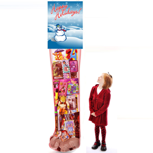 Happy Holidays 8ft Stocking with Toys