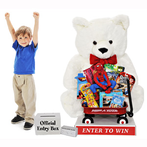 Giant Christmas Teddy Bear with Toys - White