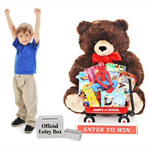 Giant Christmas Teddy Bear with Toys - Brown